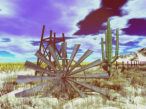 Mirage Motel 66-  Broken Windmill Acrross A Desert Sky   by mromani50