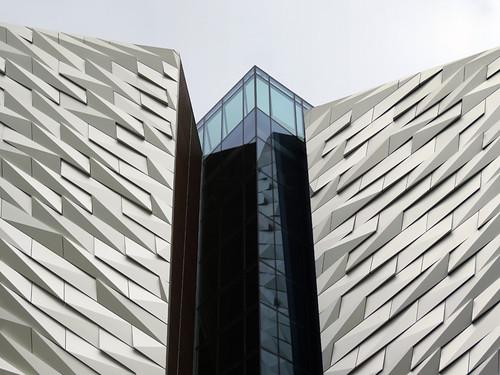 Silvery sheen of the Titanic Building in Belfast, Ireland UK