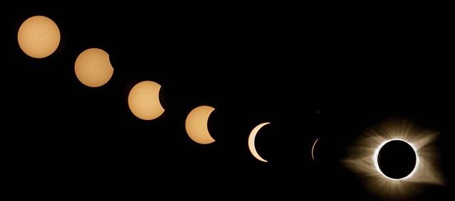 2017 Solar Eclipse Composite of my photos. Taken with a Sony 6000 using a kit lens 55-210 at Dreher Island State Park, SC on August 21, 2017.  So stoked -you can even see sunspots!