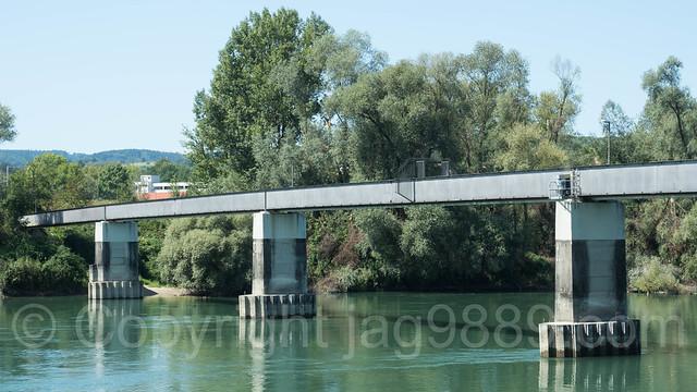 RHE314 Schwaderloch Steg Bridge over the Hochrhein River, Schwaderloch AG Switzerland - Albbruck Germany