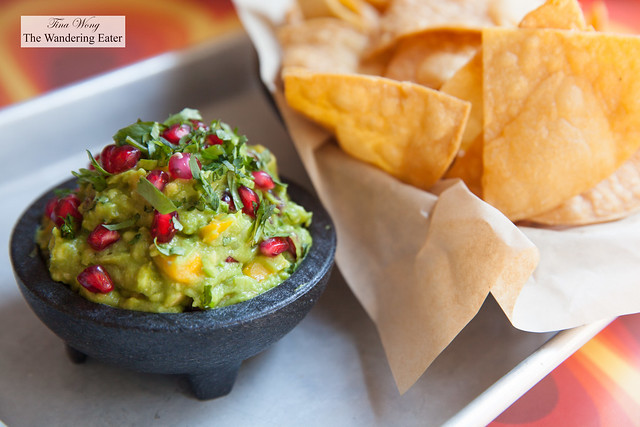 Pomegranate and mango guacamole with housemade tortilla chips