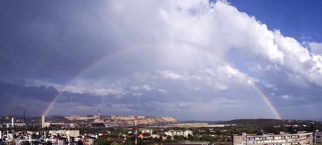 Panorama with double rainbow