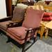 Wine fabric wood chair E55