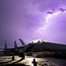 A U.S. Air Force F-15E Strike Eagle is illuminated by a lightning storm near Bagram Air Field, Afghanistan, Oct. 6, 2011. (U.S. Air National Guard photo by Tech. Sgt. Matt Hecht/Released)