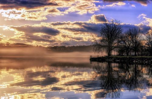 blue canon 6d 247028l llenses landscape gps geotag hudsonvalley hudsonriver hoyacpl hoyand8 manfrotto fog mist orange sky sunrise