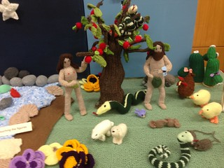 Knitted bible story at Salvation Army | by fred pipes