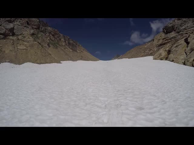 4901 GoPro video panorama and first-person glissade as I slide down the Spider Glacier