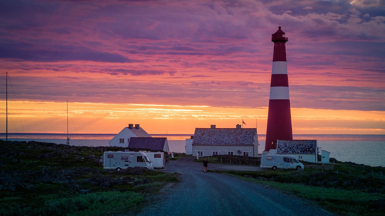 Sunset at Slettnes fyr (lighthouse)
