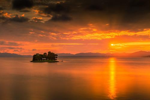 japan sunset sky light cloud weather landscape orange contrast colour bright lake island water nature sun rays summer