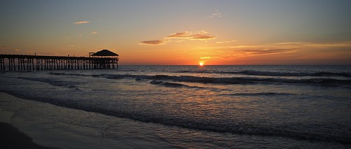 sunrise beach ocean sea sand pier florida short water sky clouds sun surf reflection cocoa waves colorful panorama landscape seascape morning dawn early silhouette horizon atlantic