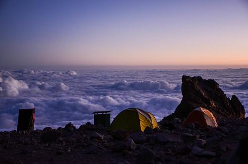 sunset kilimanjaro camp clouds hiking mountain tanzania
