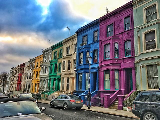 London England  ~  Rainbow Row in London's Notting Hill Neighborhood