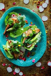 Crispy Salmon Lettuce Cups with Cilantro Tahini Sauce (Paleo) from Heatherchristo.com | by Heather Christo