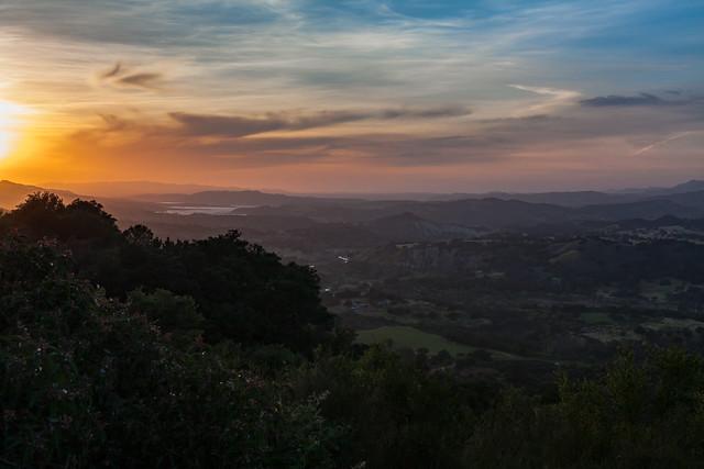 Santa Ynez Valley and Lake Cachuma at sunset
