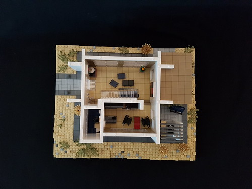 Whitebrick Sand House MOC kitchen lounge from top | by betweenbrickwalls