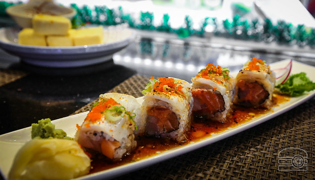 Spicy Tuna, Salmon, Yellowtail, Topped w/ Seared White Tuna & Wasabi Yuzu Sauce - Fusion Japanese Steakhouse