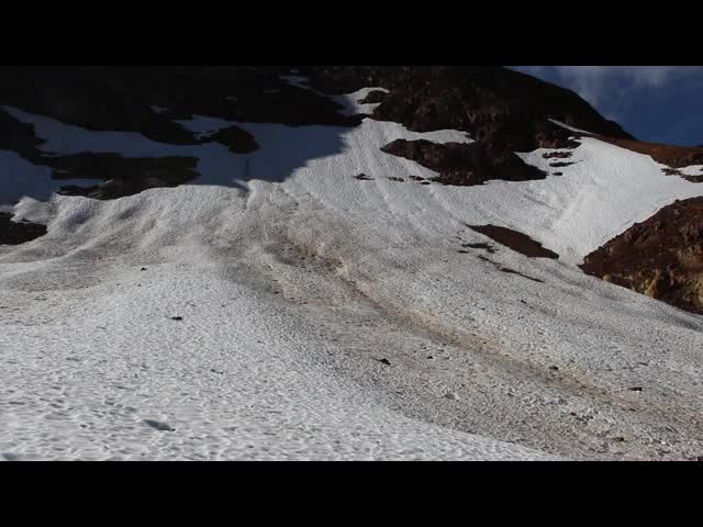 4788 Windy noisy video as we watch some rockfall come down nearby on the Spider Gap Snowfield Route