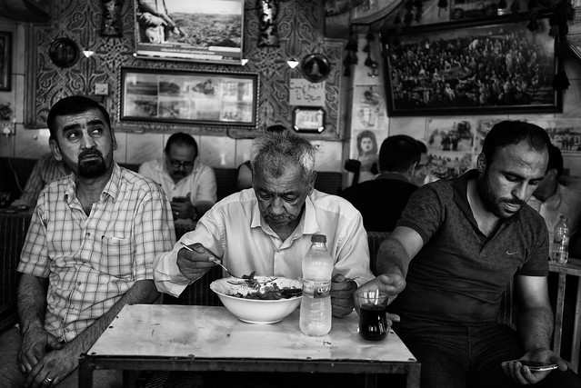 Erbil, in Ramadan, some people eat, drink and smoke in this little restaurant hidden behind a curtain