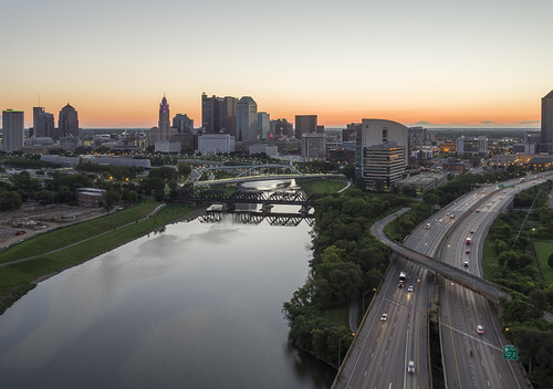 inspire1pro drone ariel architecture river i70 columbus ohio downtown sunrise morning highway bridge cityscape hdr