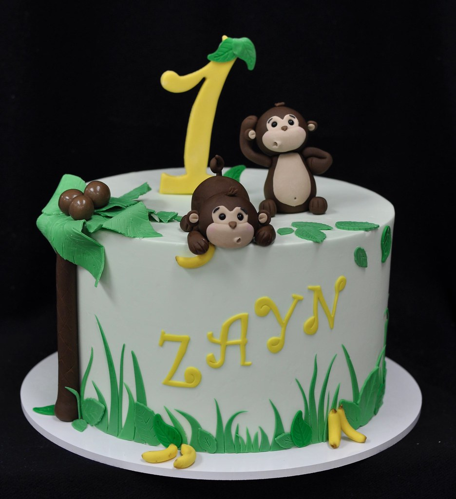 Terrific Monkey Themed First Birthday Cake Based On A Design By Lor Flickr Personalised Birthday Cards Veneteletsinfo