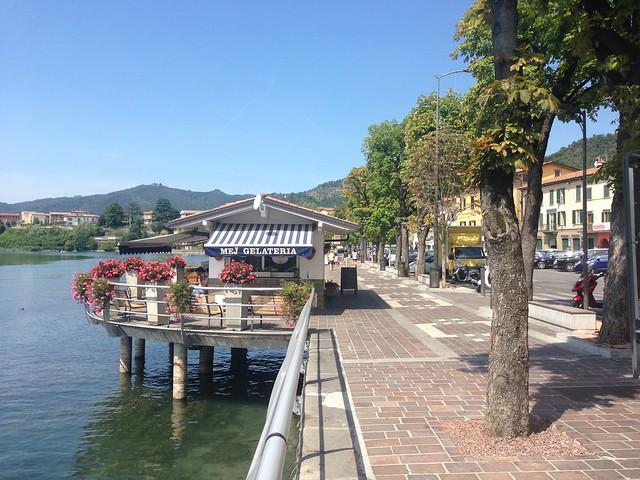 Promenade and riverside gelataria, Sarnico
