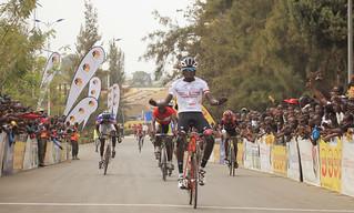 Valens Ndayisenga celebrates his victory in Race for Culture at Nyanza (Sam Ngendahimana) (1)   by RWANDA CYCLING FEDERATION (FERWACY)