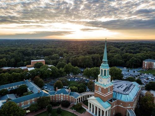 dji drone winstonsalem northcarolina unitedstates sunset wait chapel wakeforestuniversity