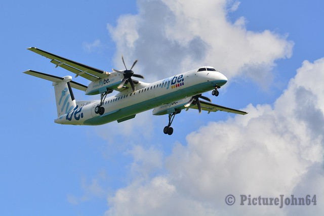 BE1275 FlyBe Dash 8-400 (G-JECX) arriving from Manchester at Schiphol Amsterdam