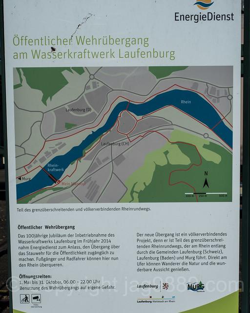 RHE322 Power Plant Laufenburg Weir and Bridge over the Hochrhein River, Laufenburg AG Switzerland - Laufenburg (Baden) Germany