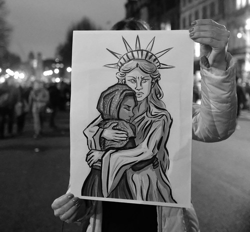 Demonstrator with a message at London's anti-Trump rally.   by alisdare1