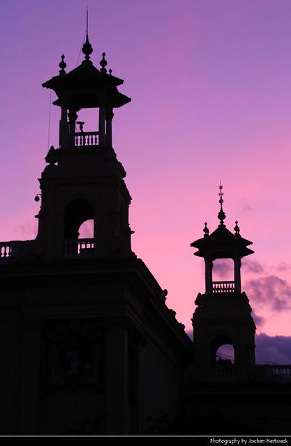 Palau de la Reina Victòria Eugènia @ Sunset, Barcelona, Spain