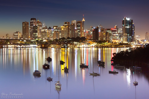 sydney city cbd harbour boat night waverton reflections