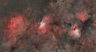 Mosaic of M16, M17 and NGC6604 in HaOIIIRGB   by ChrisvdBerge