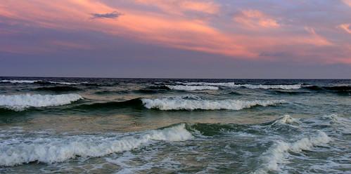sunset gulf ocean beach clouds florida