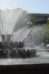 Children are playing in the fountain. Orenburg, Russia