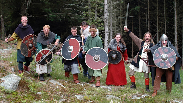 Danish warriors ready to attack Bukkøy during the Viking market at Avaldsnes 2006, Do you know the warriors, you can share the pictures with them.