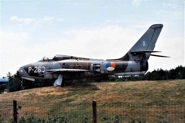 F-84F Thunderstreak P-263 (old Luchtmacht Electronische en Technische School/ LETS badge) ex Royal Netherlands AF/ KLU. Preserved at the Autotron, Rosmalen. 16-06-2001.