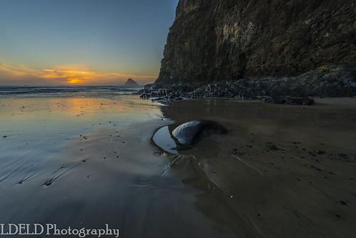 sunset beach sand waves ocean pacific rocks seastacks island oceanside oregon