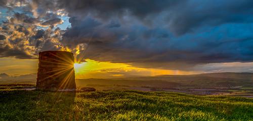 sunburst d750 landscape sunset midwales panorama clouds wales vista rainbow britain green sunstar sun powys sky sunlight hills rain uk montgomery unitedkingdom gb
