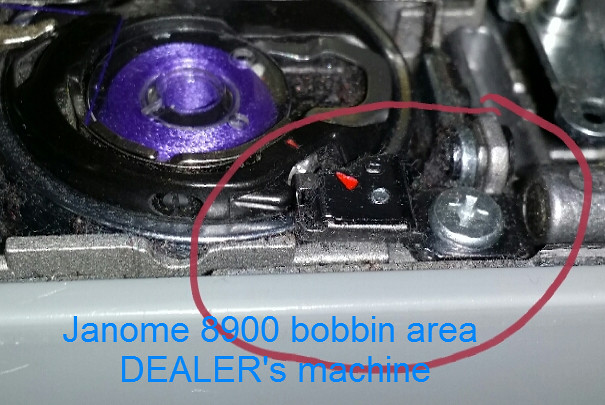 Janome 8900 bobbin area