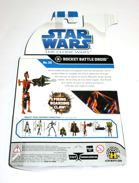rocket battle droid no. 25 star wars the clone wars basic action figures blue white card 2008 hasbro mosc b