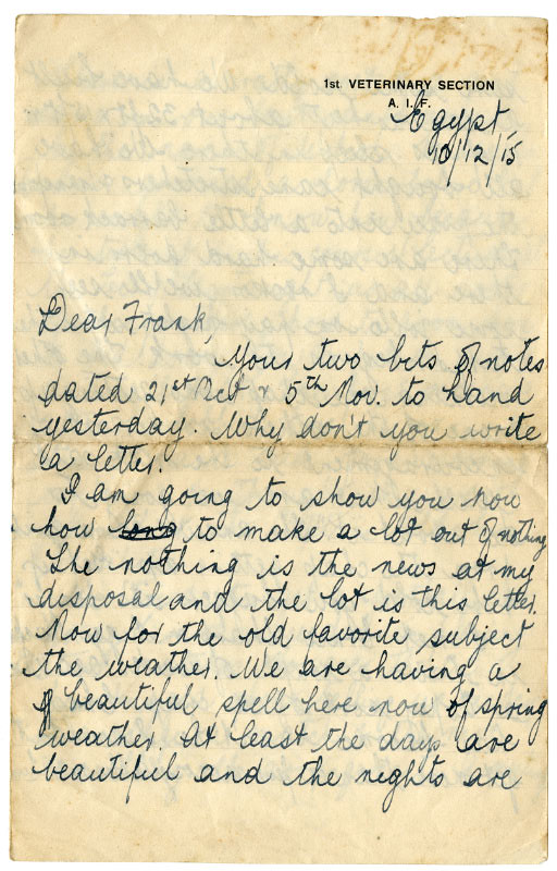 Letter to Frank from 'Jackie'