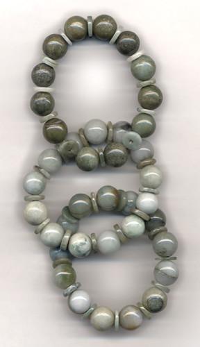 Pale green jade bracelets from Myanmar