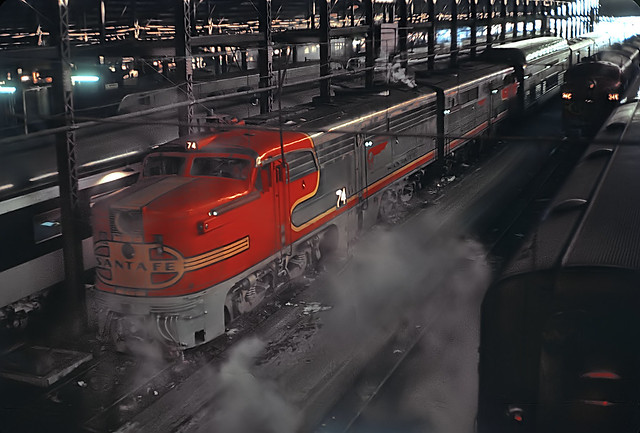 Santa Fe PA1s in Chicago's Dearborn Station -- 2 Photos