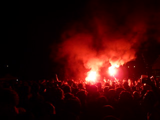Bern BE, Switzerland - Pyroshow during Dritte Wahl Concert at NO BORDERS, NO NATIONS-Festival