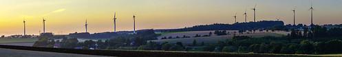 upper franconia germany landscape panorama sunset hills wind turbines trees fields