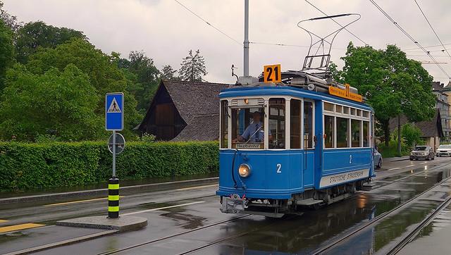 Tram Museum Zurich - Museum line 21 - on duty even though it's raining