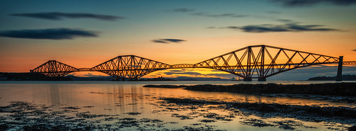river forth bridge crossing queensferry edinburgh fife sunrise sunset