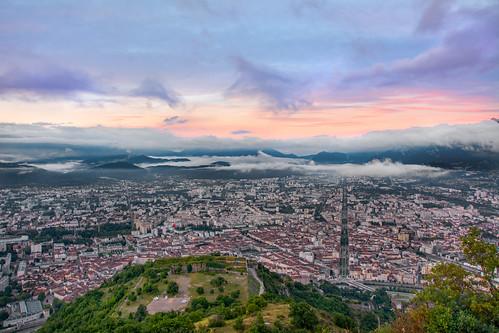 sunrise city aerial grenoble france alps bastille montjala jeanjaures dawn clouds dramaticsky chartreuse nikon d7100 youngpotographer