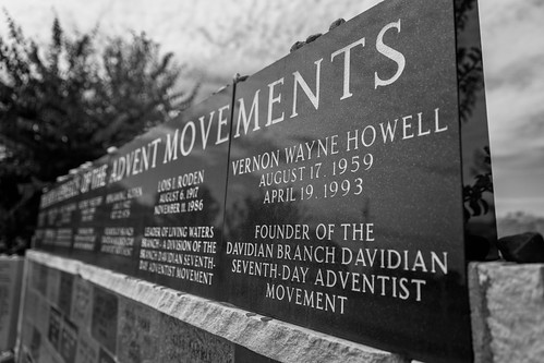 A monument for the leaders of the Seventh-day Adventist and Branch Davidian movements and the Branch Davidians who died in 1993, Mount Carmel Center (Branch Davidian compound), outside of Waco, Texas. Vernon Wayne Howell, listed here, was also known as Da | by Lorie Shaull